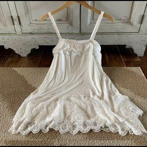 BOHO Bohemian Ivory Layered Lace Tunic Dress S